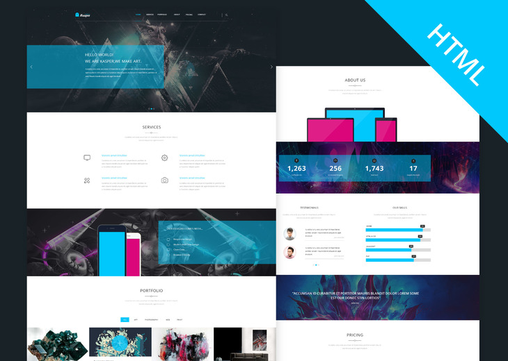 Kasper - One Page Creative HTML Theme preview