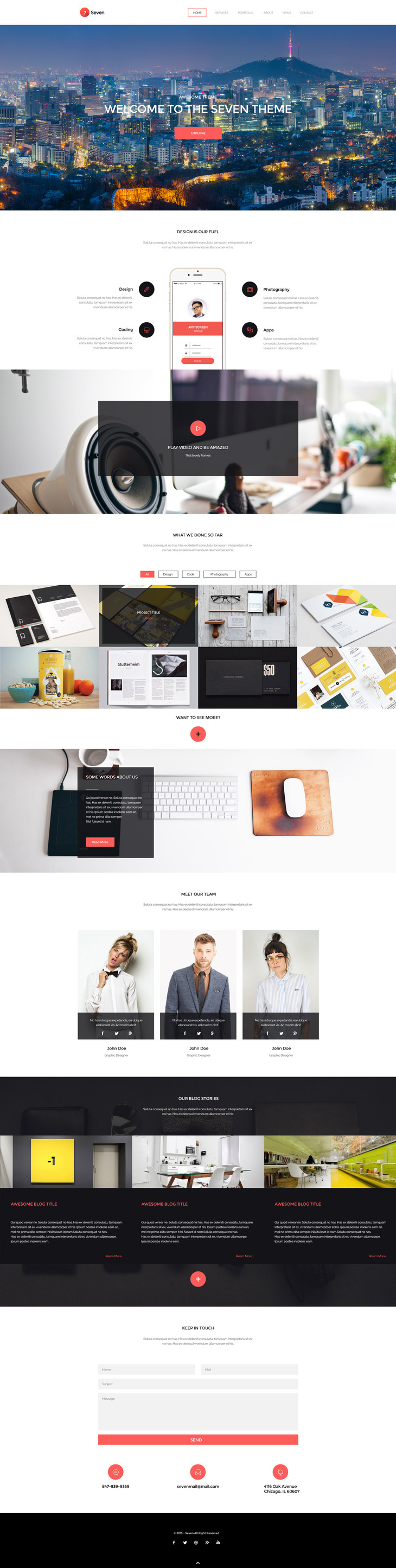 Seven - HTML Single Page Creative Portofolio Template - graphberry.com
