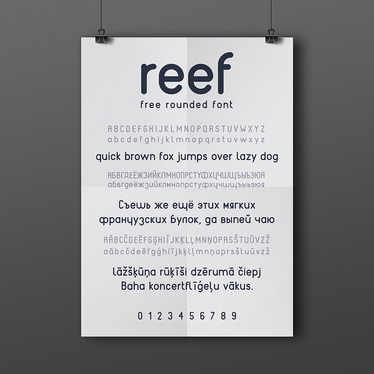 Reef - free rounded ORF font preview