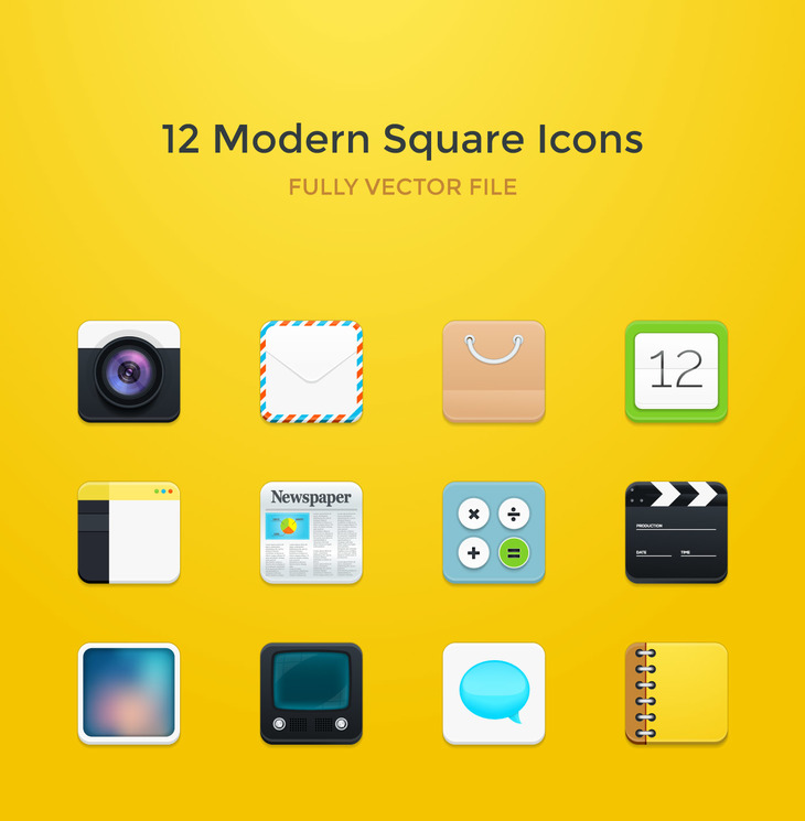 12 Modern Square Rounded Icons preview