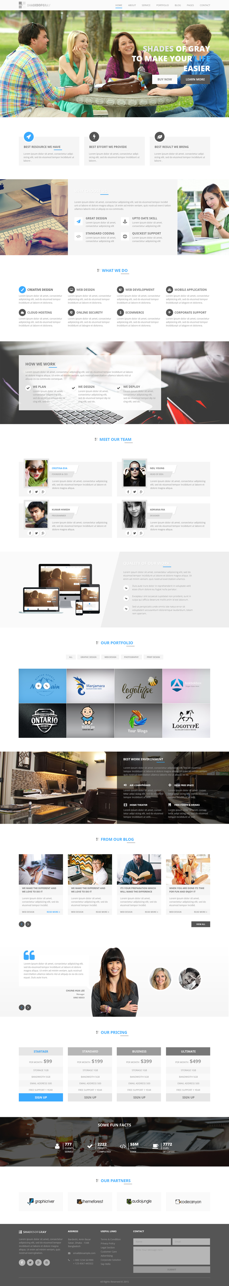 Shades Of Gray -  Free PSD Web Template preview