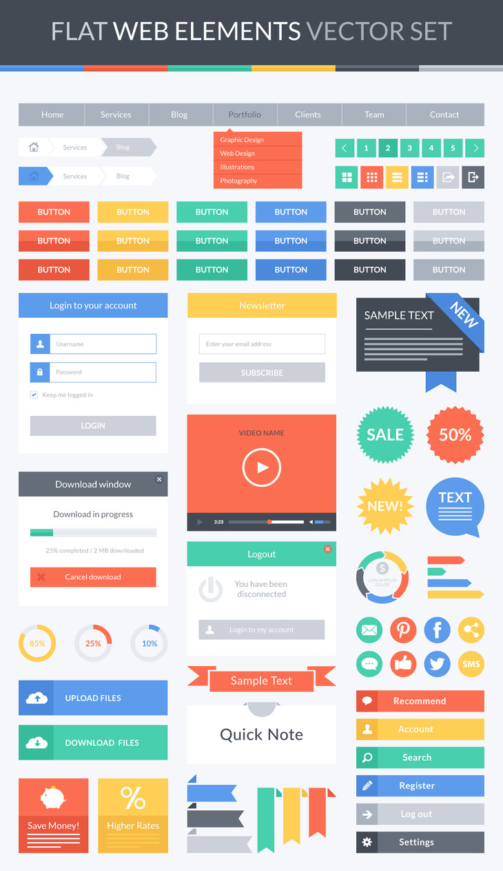Flat Web Elements Vector Set preview