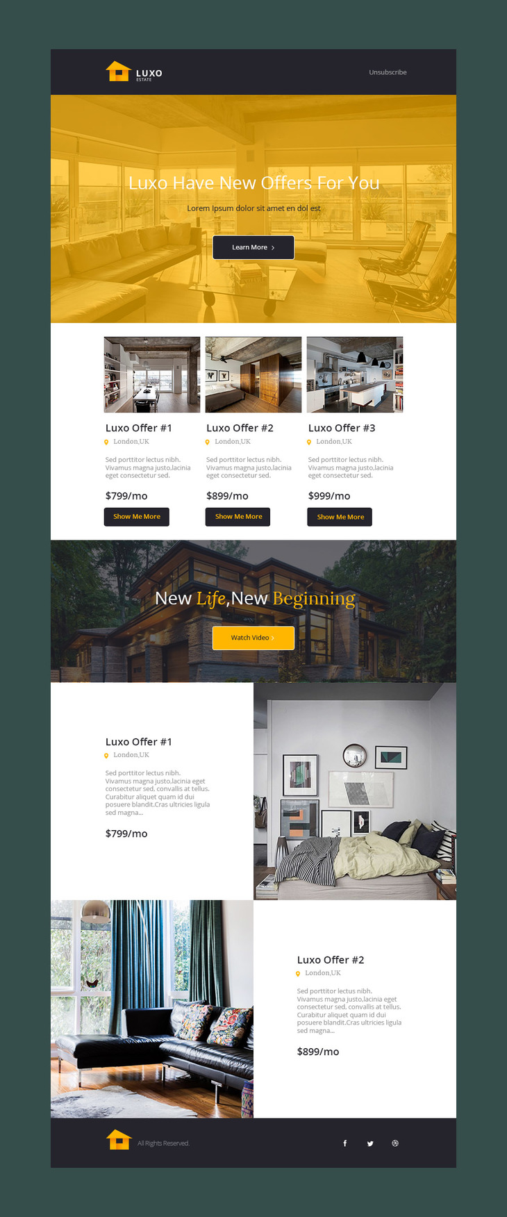 luxo free psd email template