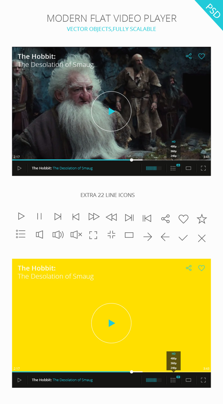 PSD Video Player UI preview