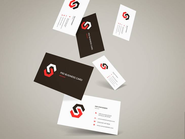 Flying Business Cards Mockup Vol.12 preview