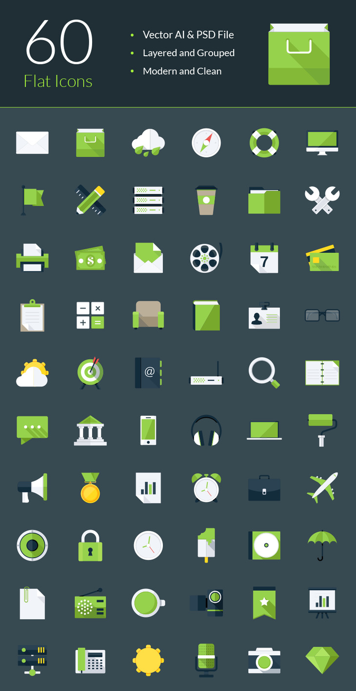 Modern Flat Icons preview