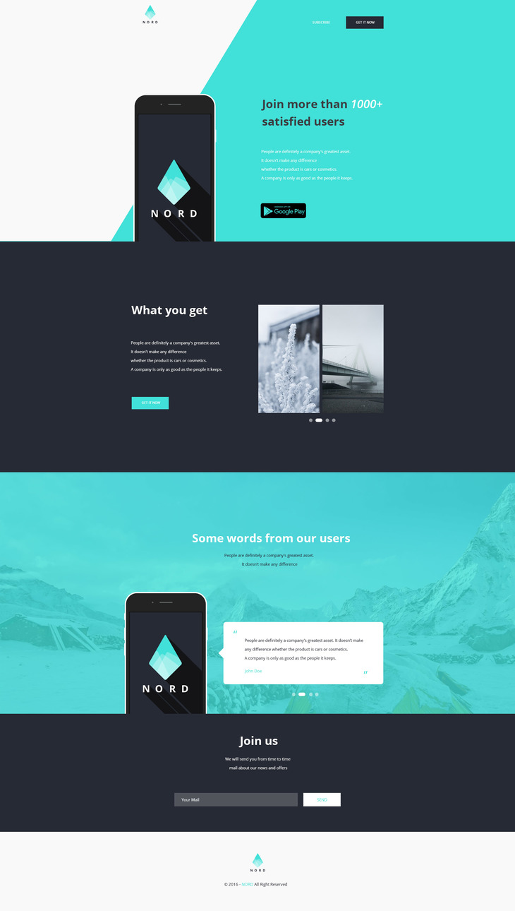 Nord - Simple App Landing One Page Template preview