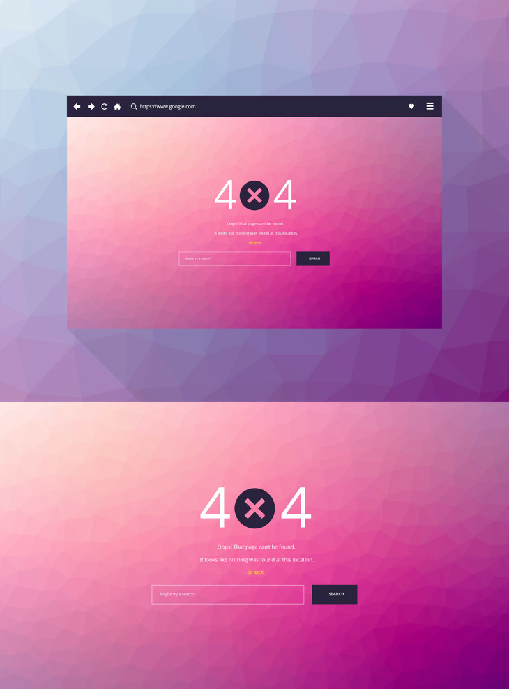 Free 404   PSD Page Template preview