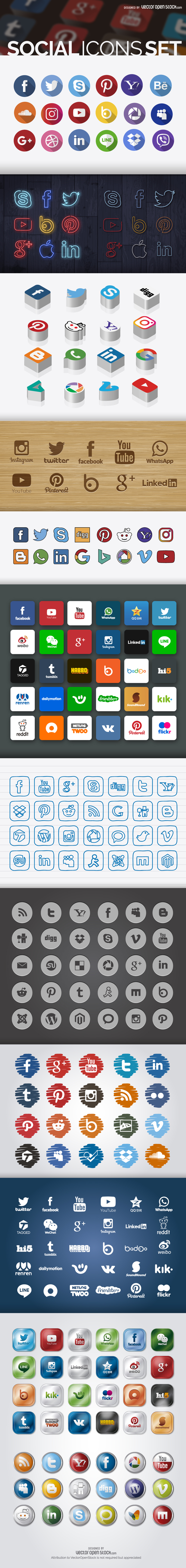 260 Free Social Icons Set In Different Styles preview