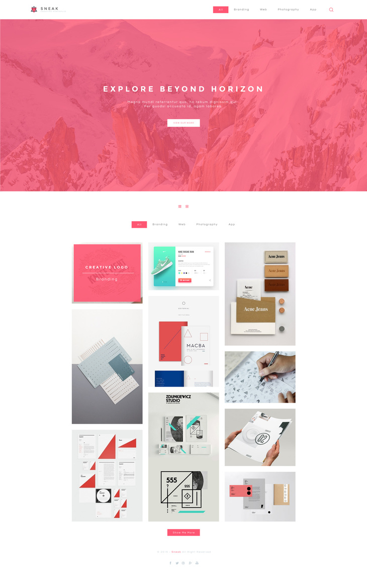 Sneak - Simple Portfolio PSD Website Template - graphberry.com