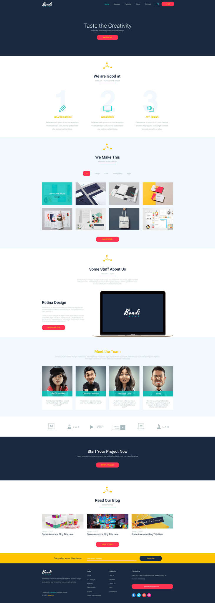 Bondi - PSD Landing Page preview