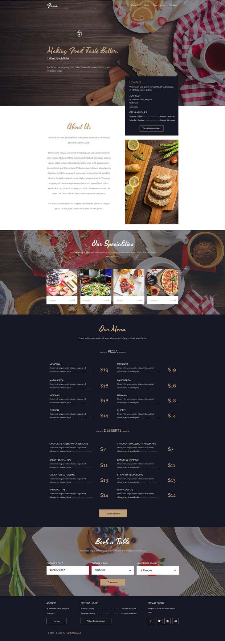 Fesco - Restaurant PSD Template | Free PSD