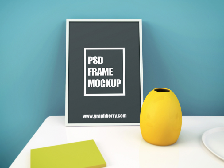 Picture Frame on Table PSD Mockup preview