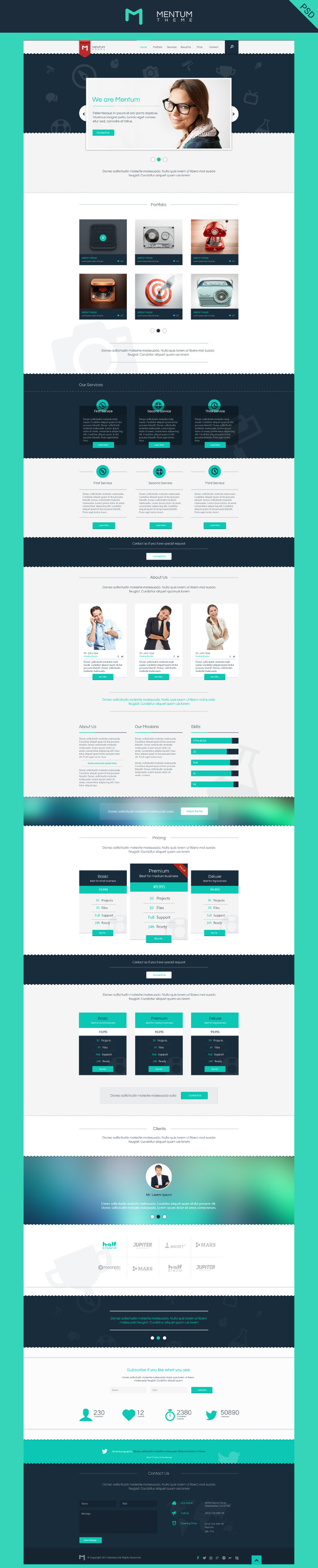 Mentum - PSD Single Page Template preview