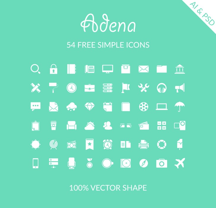 Adena - 54 Free Simple Icons preview