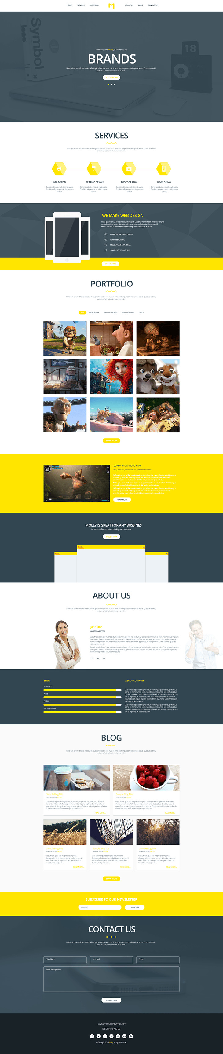 Molly - Free Bootstrap Single Page Portfolio Template preview