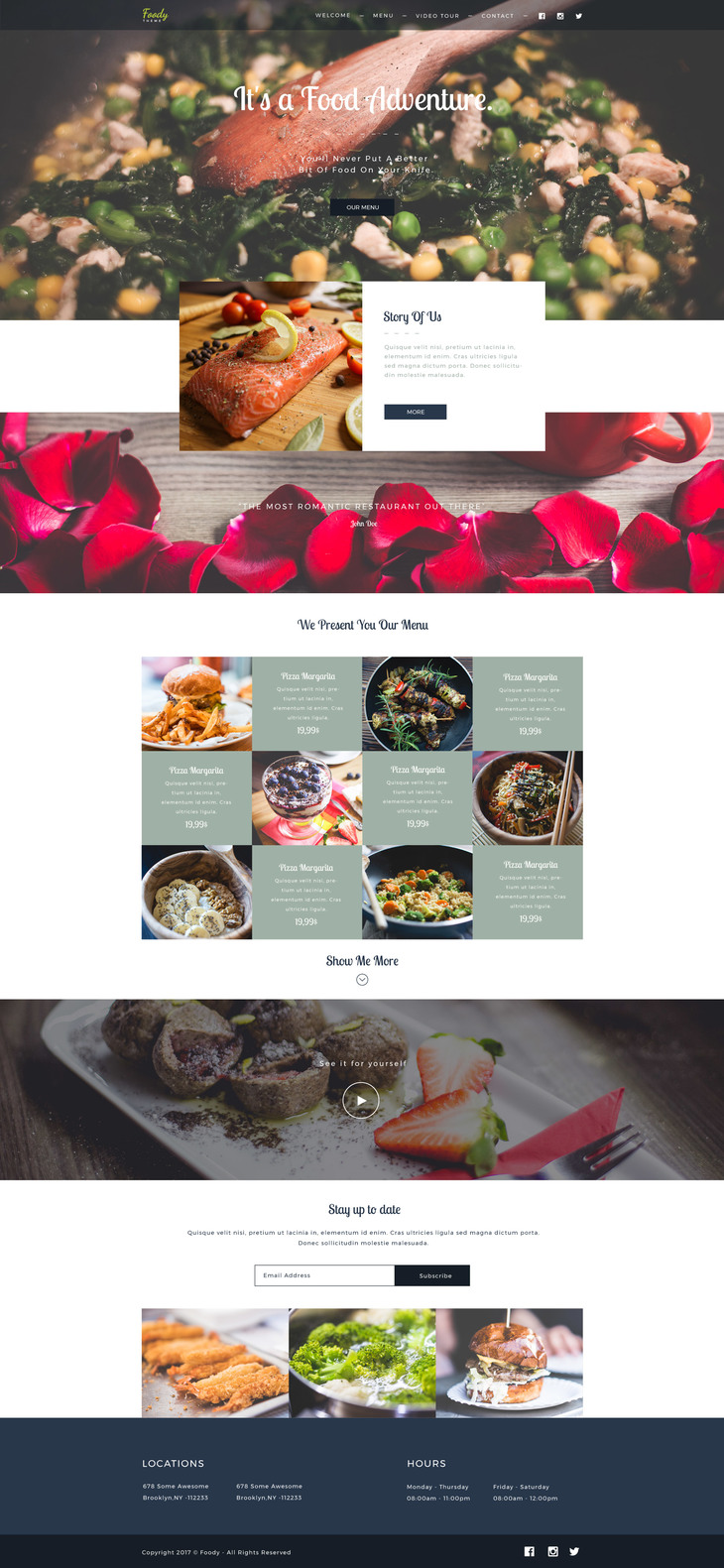 Foody - Web Template For Food Business | Free PSD