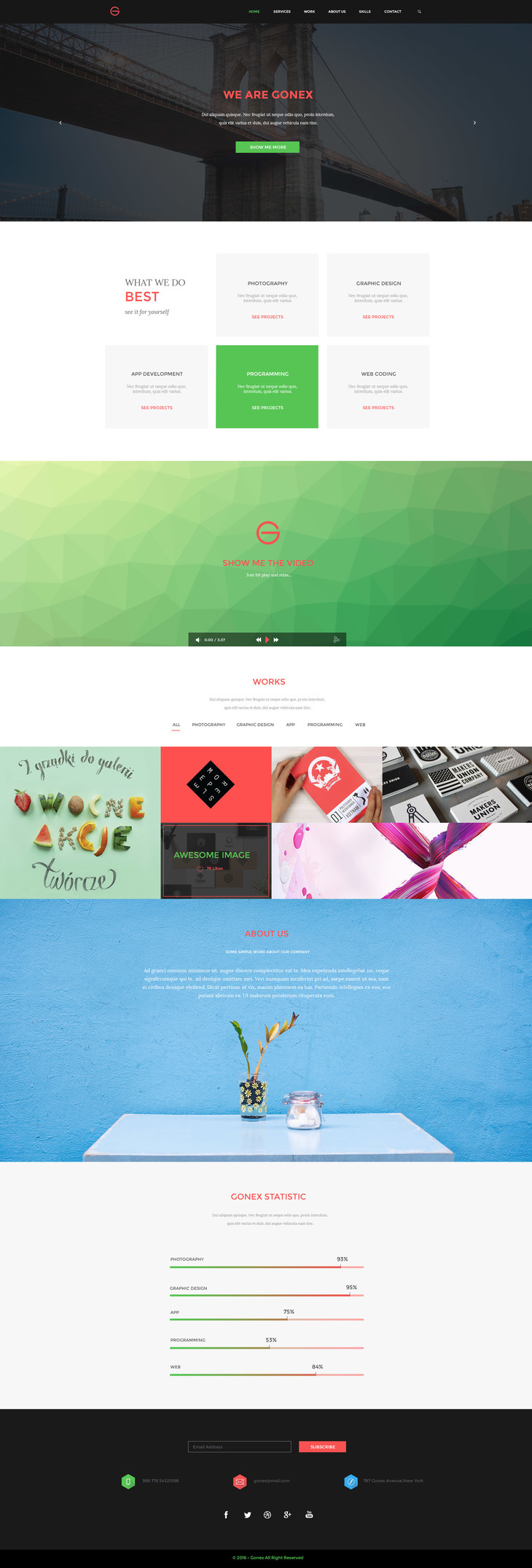 Gonex - Free Bootstrap HTML One Page Template preview
