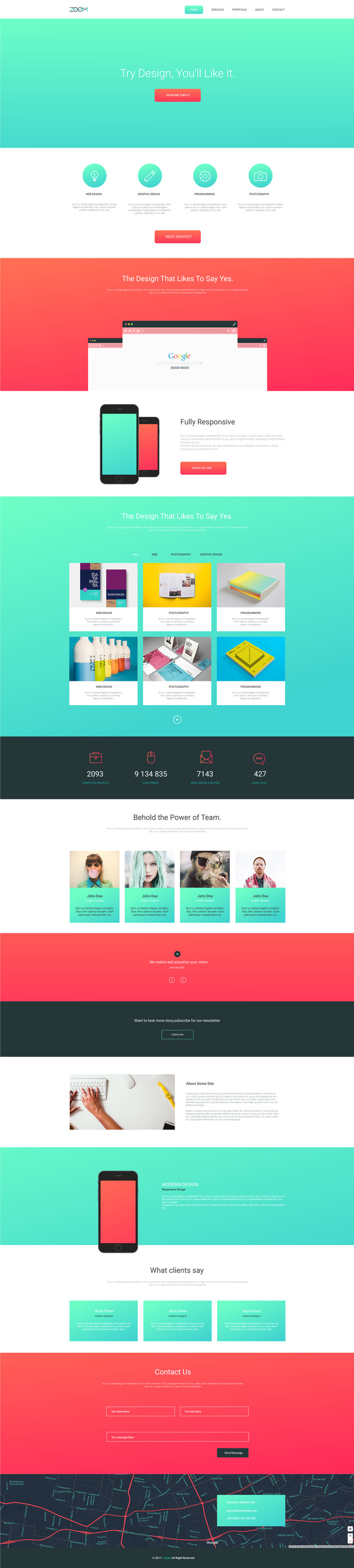 Zoom - Single Page Template | Free PSD