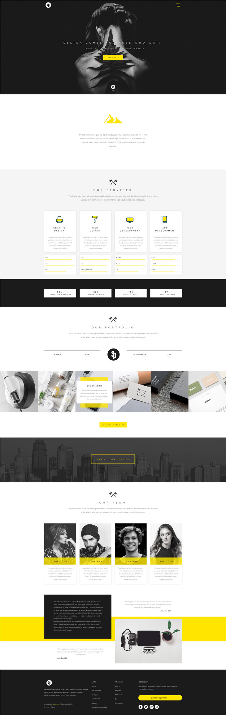 Sparkle - Multipurpose Web Template | Free PSD