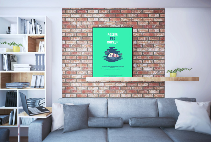 Poster On Shelf PSD Mockup preview