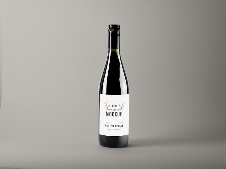 Realistic Wine Bottle PSD Mockup preview