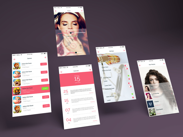 App Multiple Screens Mockup Vol.7 | Free PSD