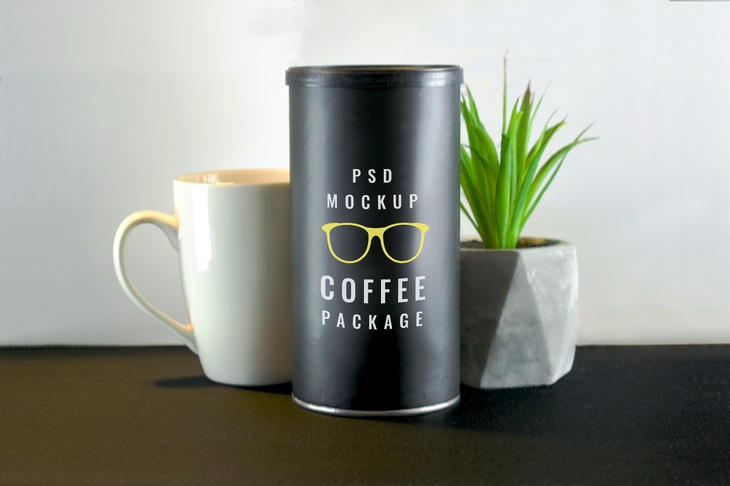 Coffee Tube Package Mockup | Free PSD