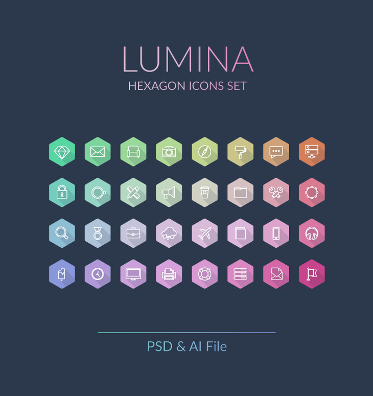 Lumina - Hexagon Icons Set preview