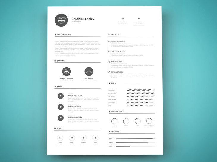 print ready resume template preview - Graphic Resume Templates