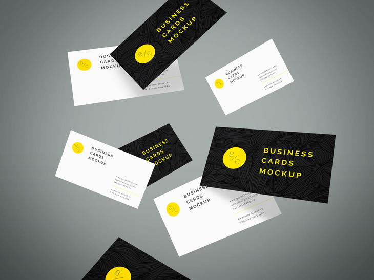 Flying Business Cards Mockup Vol 4 Graphberry Com