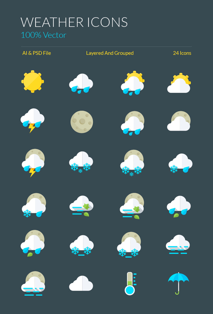 Weather Icons And Symbols Graphberry