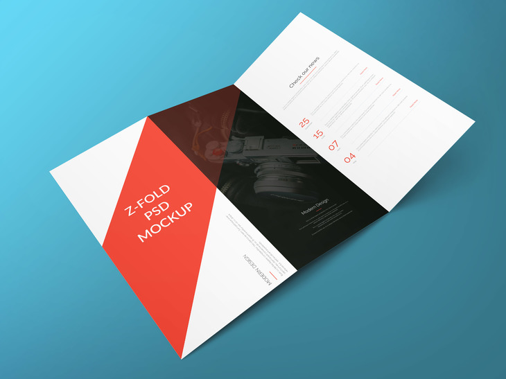 Z fold brochure free psd mockup for 3 fold brochure template psd free download