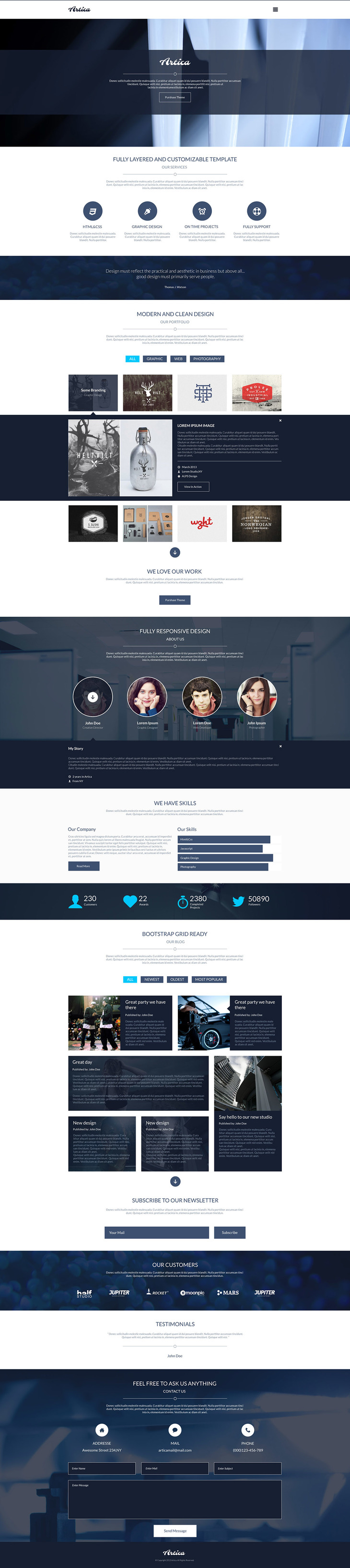 artica psd one page web template preview - Artica Designs