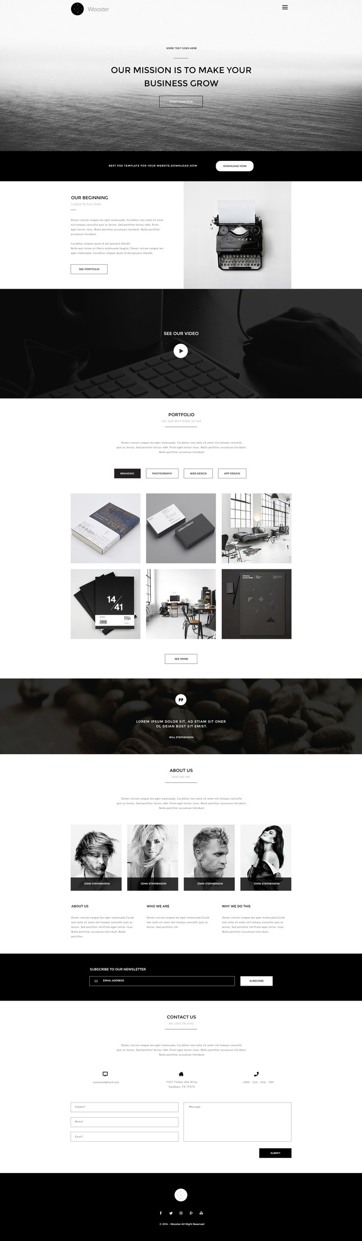 Wooster - Vintage Single Page PSD Theme preview