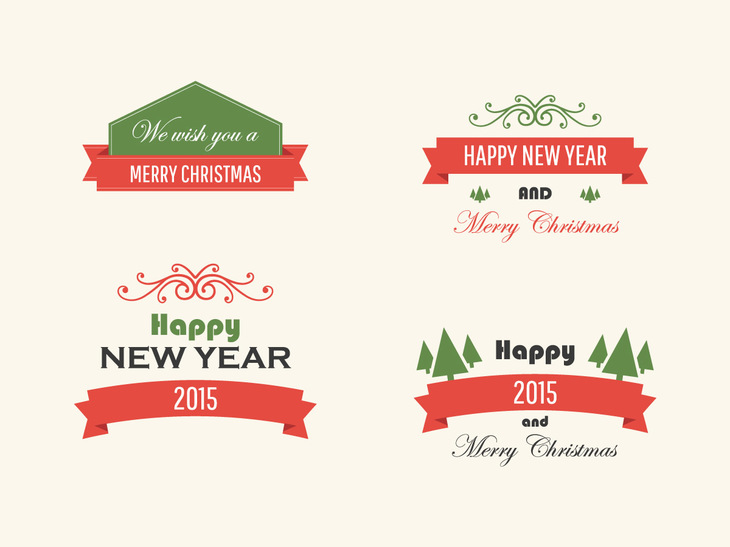 Free Vintage Vector Christmas Badges preview
