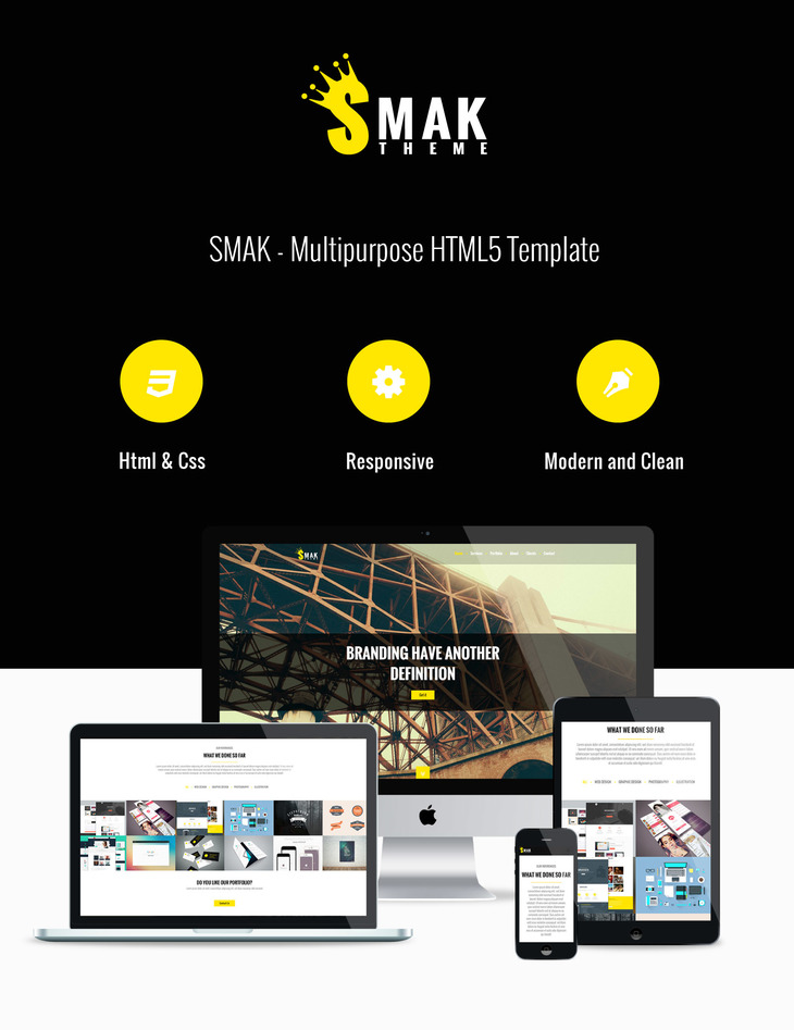 smak free html single page template preview