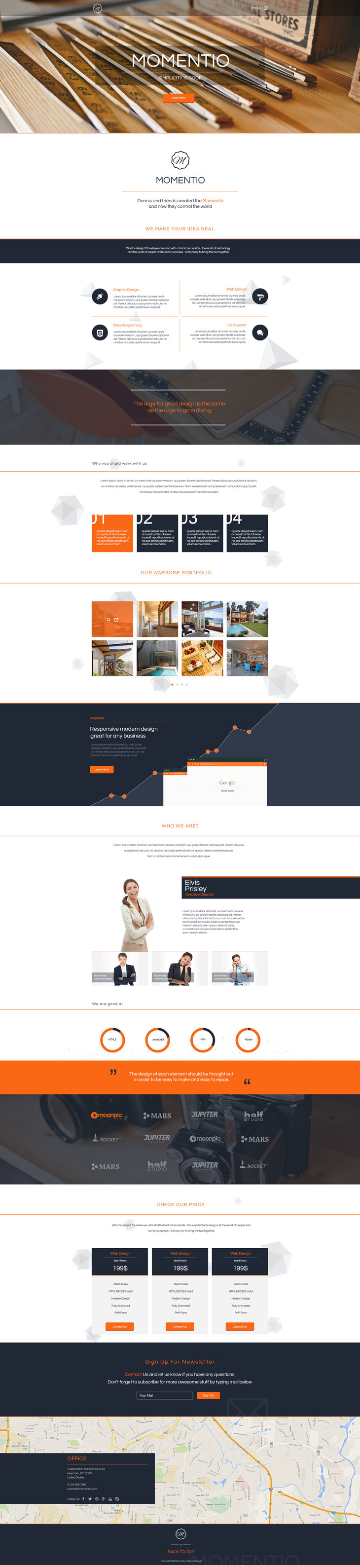 Momentio - Single Page PSD Template preview