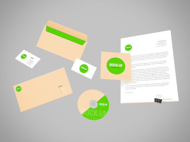 Flying Stationery PSD Mockup preview