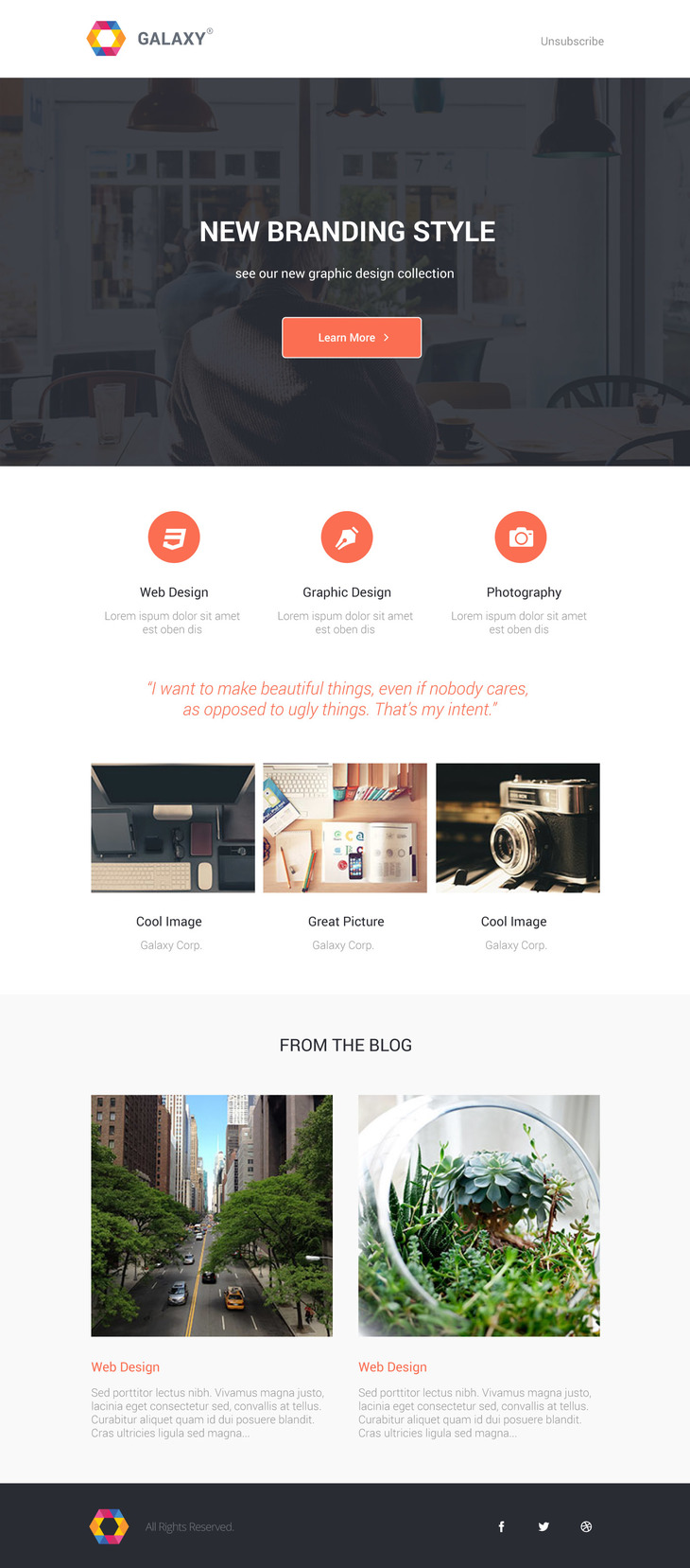 Galaxy - Beautiful Newsletter PSD Template preview