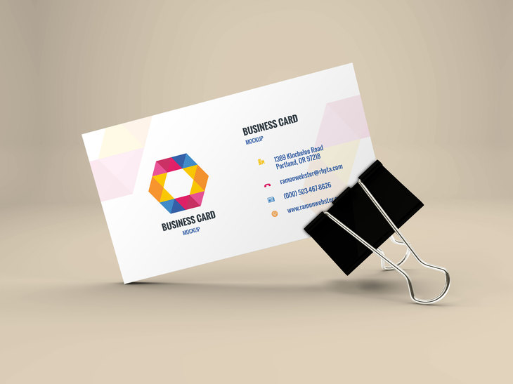 Business Card Mockup In Binder Clip Preview  Name Card Example