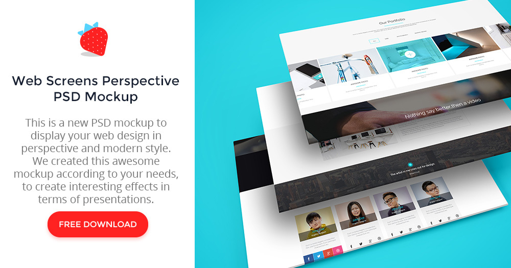 Multiple Web Screens Perspective PSD Mockup - graphberry com