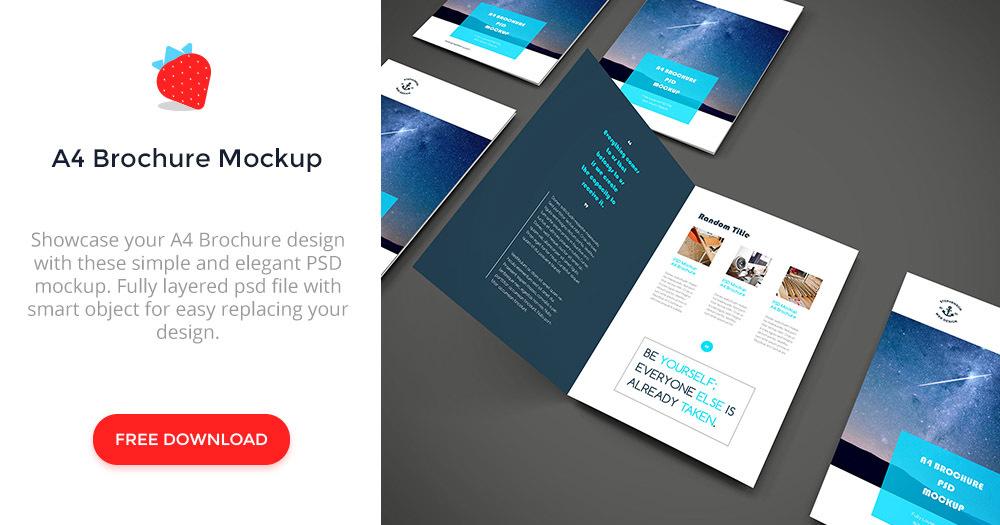 a4 brochure psd mockup graphberrycom - A4 Brochure Template Psd Free Download
