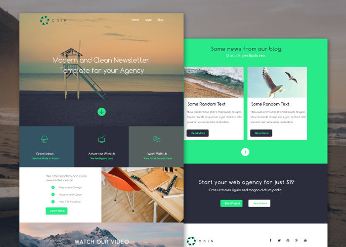 odin - free newsletter psd template
