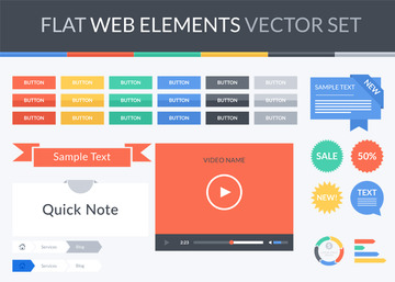 Flat Web Elements Vector Set