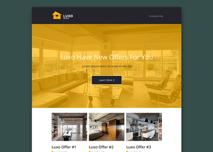 luxo free psd email template. Black Bedroom Furniture Sets. Home Design Ideas