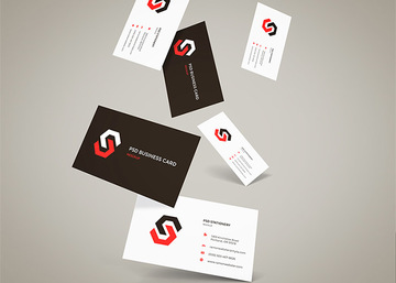 Flying Business Cards Mockup Vol.12