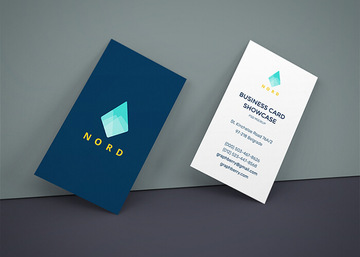 Business Cards On Wall Mockup