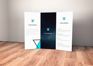 Brochure on Wooden Floor Mockup