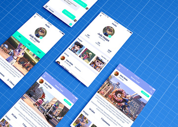 Mobile App Mockup on Blueprint